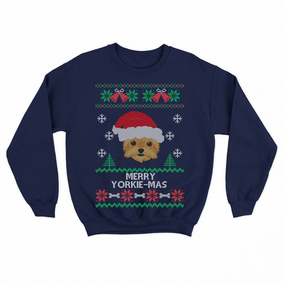 Yorkshire Terrier Puppy Santa Claus Father Christmas Women/'s Sweater \ Jumper