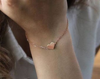 14k Gold Heart Bracelet - Heart  Bracelet - 14k Gold Bracelet -   Available in 14k Gold, White Gold or Rose Gold