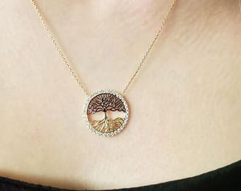 14K Gold Tree of Life Necklace, Hand-made Gold Tree of Life Necklace Available in 14k Gold, White Gold or Rose Gold