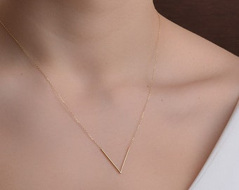 14K Gold V Necklace/Gold Necklace Available in 14k Gold, White Gold or Rose Gold