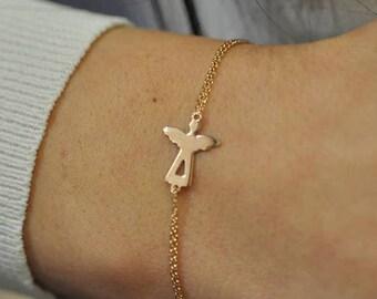 14K Gold Angel Bracelet - Handmade Angel  Bracelet - 14k Gold Bracelet - Black Bracelet -  Available in 14k Gold, White Gold or Rose Gold