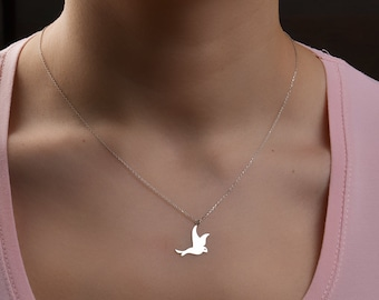 14K Gold Bird Necklace/Handmade Gold Bird Necklace Available in 14k Gold, White Gold or Rose Gold