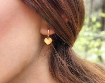 14K Gold Heart Earrings/Hand-made Gold Heart Earrings / Gold Earrings Available in 14k Gold, White Gold or Rose Gold
