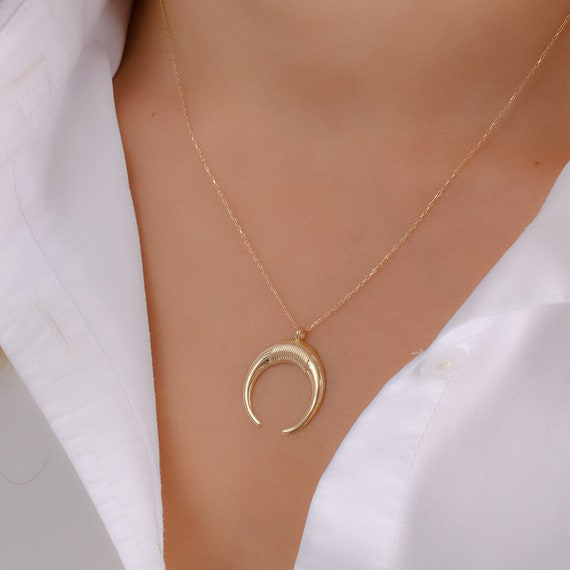 01e326b528770 14K Gold Double Horn Necklace - Gold Moon Necklace Available in 14k Gold,  White Gold or Rose Gold
