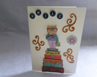 Card any occasion suitcases smile