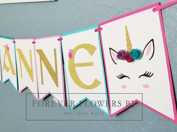 Unicorn Birthday Banner Customizable Paper Roses Party Backdrop