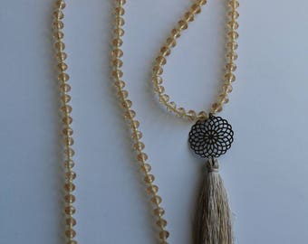 Long tassel necklace Beige, Bronze and gold