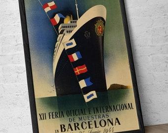 Barcelona Poster, Fair 1944, art deco, boat, nautical, vintage poster, Spain, Decoration, Lamina, Ancient, Prints, Reproduction