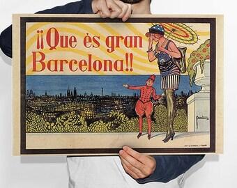Old Barcelona Billboard, Promotion, 1926, Vintage Poster, Spain, Decoration, Lamina, Ancient, Prints, Playback