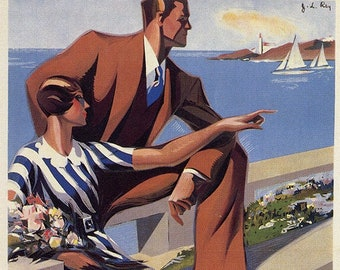 Fashion advertising poster, Barcelona. Fashion in Barcelona. 1932, Vintage Poster, Spain, Decoration, Lamina, Ancient, Prints, Playback