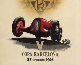 Poster Barcelona 1902 Motorsport, Racing, Sport, 1946, Vintage Poster, Spain, Decoration, Lamina, Ancient, Prints, Playback
