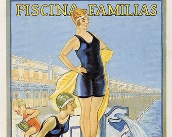 Advertising poster Barcelona, Balneario San Sebastián, 1932, Vintage Poster, Spain, Decoration, Lamina, Ancient, Prints, Reproduction