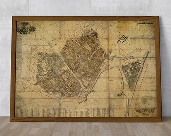 Ancient map of Barcelona, 1862, city plan, beautiful map, large map, professional high quality print, antique decoration