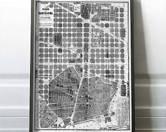 Ancient map of Barcelona, 1865, city plan, beautiful map, large map, professional high quality printing, antique decoration