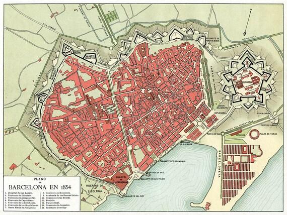 Mapa De Barcelona 1854 Old Map From Barcelona Etsy