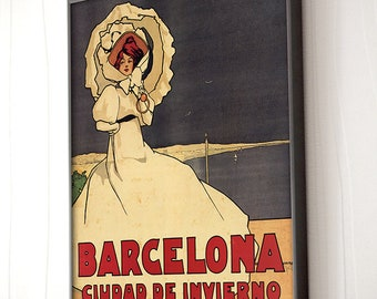 Barcelona advertising poster. Modernism. Elegance, 1911, Vintage Poster, Spain, Decoration, Lamina, Ancient, Prints, Reproduction