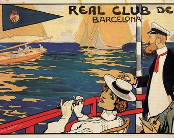 Barcelona advertising cartel, 1902. Nautico, Sailboats, Boat, Vintage Poster, Spain, Decoration, Lamina, Ancient, Prints, Reproduction