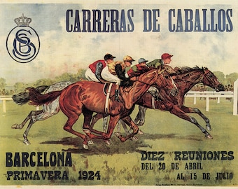 Old poster Horse racing in Barcelona. 1924, Vintage Poster, Spain, Decoration, Lamina, Quality, Prints, Reproductions