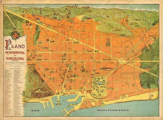 Cartina Barcellona Dettagliata.Antica Mappa Di Barcellona 1915 Piano Della Citta Bella Etsy