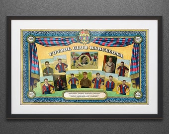Exclusive! Football Club Barcelona lineup. Barça. 1921. Vintage Poster, Spain, Decoration, Lamina, Ancient, Prints, Playback
