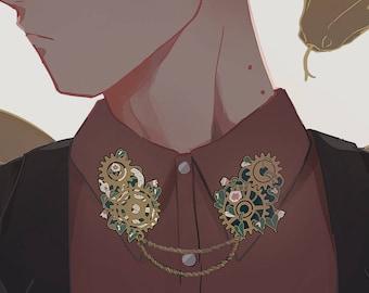 Antique Gold Gear & Vines Collar Pins