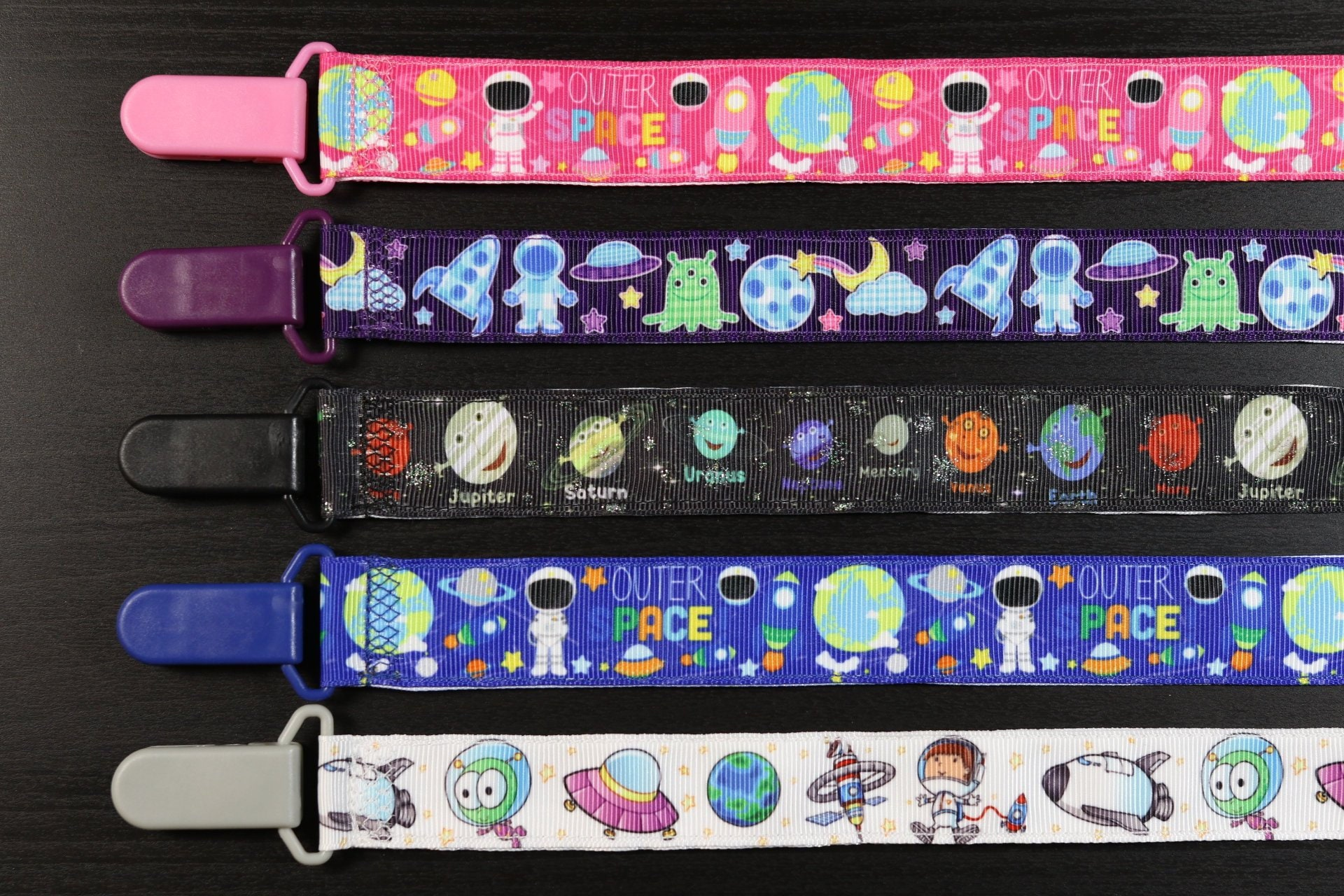 Outer Space Universal Pacifier Binky Clip  Planet Galaxy Astronaut Nursery   Nuk Soothie Mam Gumdrop Baby Shower Gift