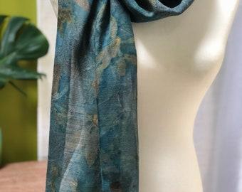 Botanically Printed Scarf: Autumn Aqua Palette