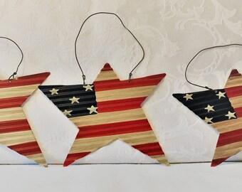 Tin American Flag Star Ornaments