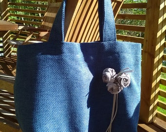 Blue summer bag with roses