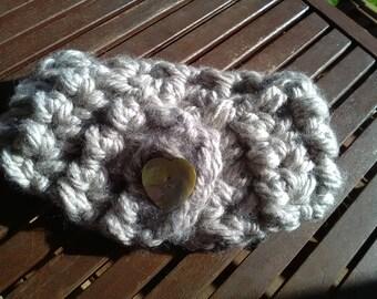 Pearl Grey wool neckwarmer bimba handmade crochet