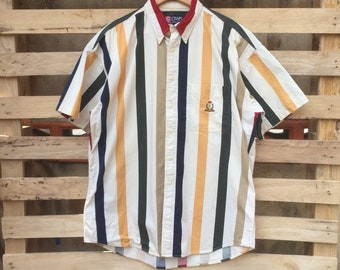 6231997df21c Vintage 90s Chaps Ralph Lauren Oxford Button Down Short Sleeve Striped  Chaps Ralph Lauren Men s Clothing Chaps Collar Shirt Vintage Oxford S