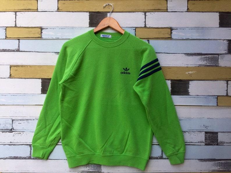 75938a353faa Vintage 90s Adidas Sweatshirt Medium Size Green Colour Adidas