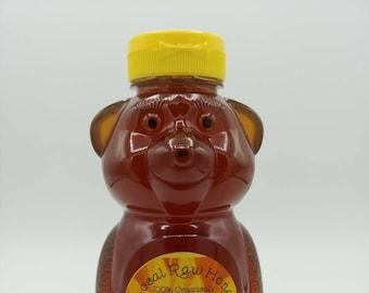 Honey  Bear Mississippi  Honey Set of 3~ Raw Organic Wildflower Honey ~ Honey Bear Set~ All Natural  Raw Honey Bear  ~ Unfiltered ~