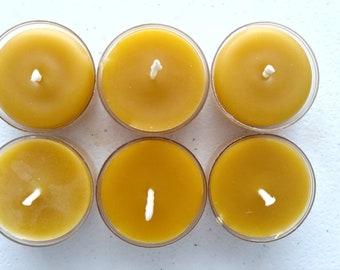 Beeswax Candles, Beeswax Tealights~ 6 Tealight Set ~ Pure Beeswax Candles ~ Set Beeswax Tealights