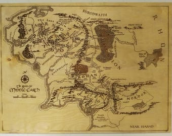 middle earth map wood engraving art lord of the rings lotr