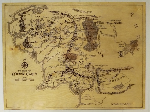 Middle Earth Map Wood Engraving Art Lord Of The Rings Lotr Etsy