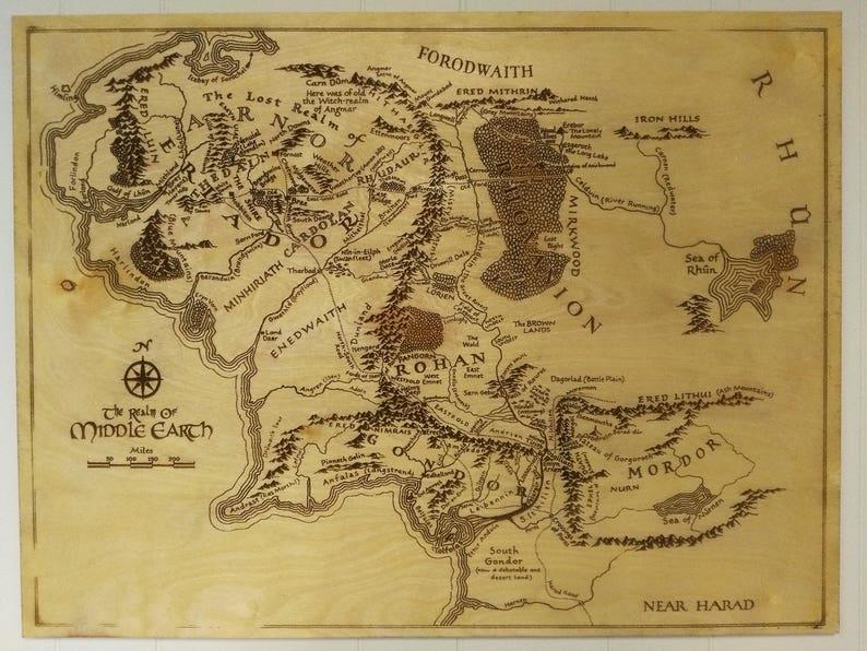 Mittelerde Karte Herr Der Ringe.Mittelerde Karte Holzgravur Kunst Herr Der Ringe Lotr