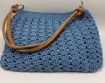 Vintage Compact Baby Blue Crochet Crossbody bag