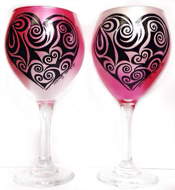 Hand Painted Heart Wine Glasses Set Of 2 Valentine S Day Etsy