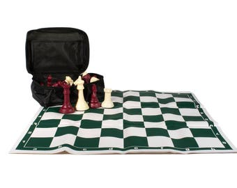Professional Tournament Chess Ivory 32 Pieces: Burgundy Weight 2.64 Lb 1.2 Kg