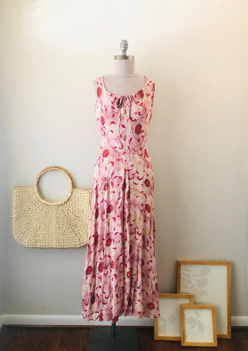bias cut crepe rayon vintage 90s Sustainable women\u2019s clothing Pink Paradise Maxi Tank Dress