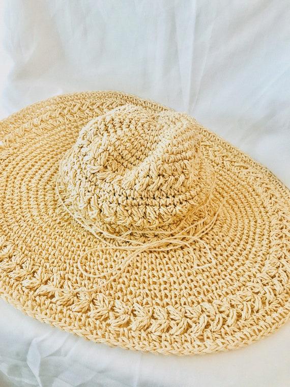 Raffia Sun Hat Wide Brimmed Woven Tan Straw, Women