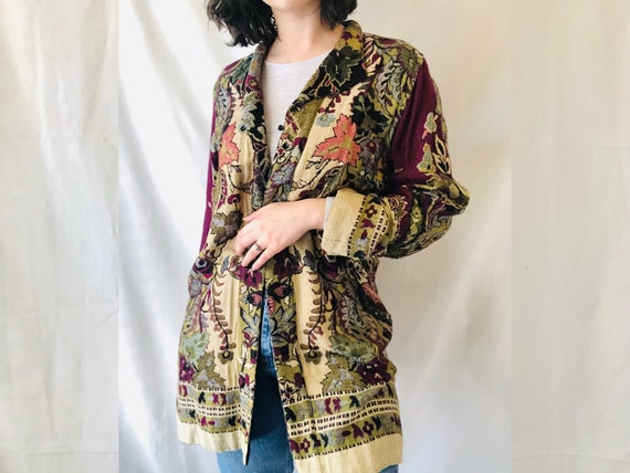 Oriental Tapestry Embroidered Botanical Coat, Vint