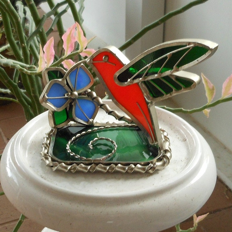 Hummingbird Stained Glass Vintage Collectible Table Top Decor Suncatcher Ornament Hand Crafted Art Glass