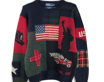 Vintage Polo Ralph Lauren Wool Knit Sweater Size Medium 9 11 Tribute USA  Pullover Rare Flag Mens Patchwork d2576acbe7b2f