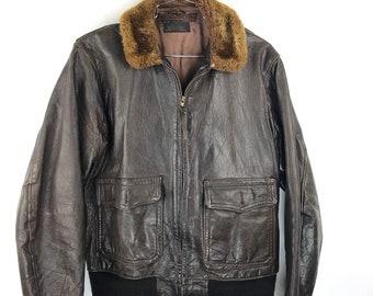 ecff46968b8 Vintage AN-6552 Leather Flight Jacket Bogen   Tanenbaum Usn 40s WWII G-1 Sz  40 Military US Navy