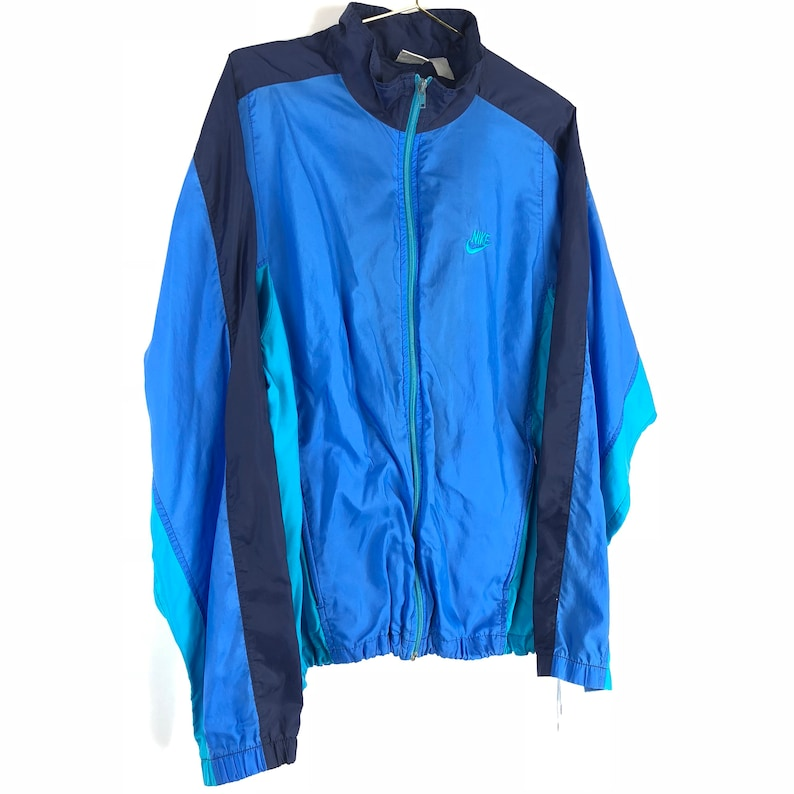 7d8d0f95acbf3 Vintage 90s Nike Windbreaker Jacket Size Large Gray Tag Retro Blue Mens L