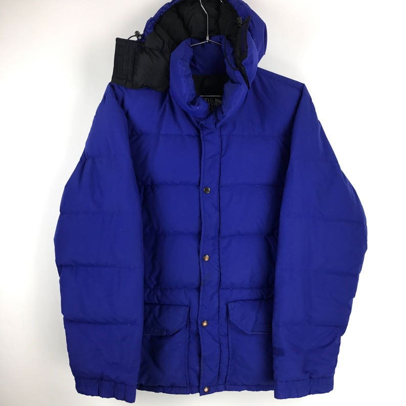 e3afdb8d4 The North Face Down Jacket Puffer Goose Coat Vintage 90s Heavy Winter  Hooded Blue Button Up TNF Sup