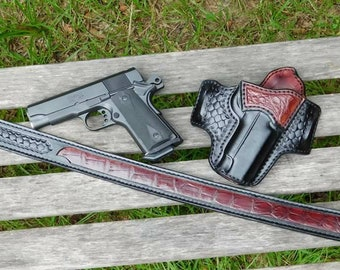 American Alligator Inlay Gun Belt