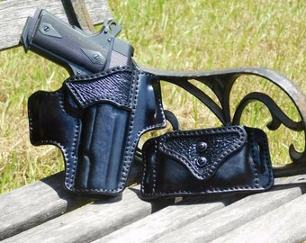 Shark Skin Accent Outside the Waist Band Leather Holster